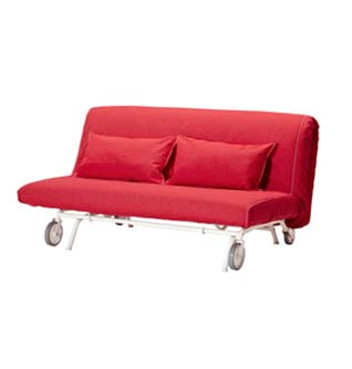 red sofa bed